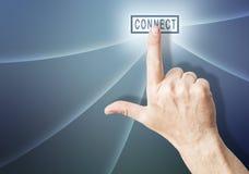 Hand over relient le bouton Photos libres de droits