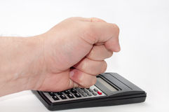 Hand over scientific calculator Royalty Free Stock Image