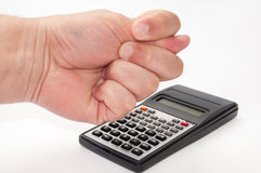 Hand over scientific calculator Stock Image