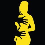 Hand på den gula flickaillustrationen Royaltyfri Fotografi