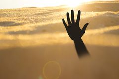Hand på en strand som sjunker eller drunknar i kvicksand royaltyfri bild