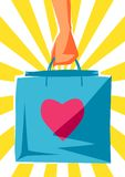 Hand with package. Shopping illustration in retro style Vector Illustration