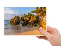 Hand and Padang Padang Beach in Bali Indonesia my photo Stock Photos