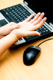 Hand pain from mouse. Hand painful from mouse usage Royalty Free Stock Photo