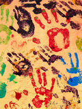 Hand Paint. Hand prints painted on a wall Stock Photography