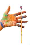 Hand & paint brush Royalty Free Stock Photos