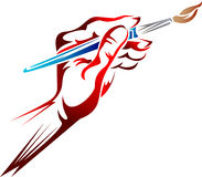 Hand with paint brush. Hand holding a paint brush clip art image stock illustration
