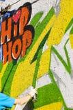 Hand paint graffiti wall Stock Photos