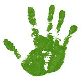 Hand paint print, isolated white background. Green human palm and fingers. Abstract art design, symbol identity people. Silhouette child, kid, people handprint stock illustration