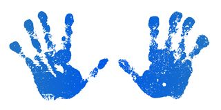 Hand paint print set, isolated white background. Blue human palm and fingers. Abstract art design, symbol identity. People. Silhouette child, kid, people royalty free illustration
