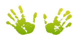Hand paint print set, isolated white background. Green human palm and fingers. Abstract art design, symbol identity. People. Silhouette child, kid, people stock illustration