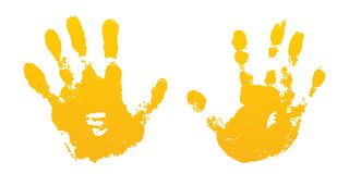 Hand paint print set, isolated white background. Yellow human palm, fingers. Abstract art design, symbol identity people. Silhouette child, kid, people royalty free illustration
