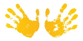 Hand paint print set, isolated white background. Yellow human palm, fingers. Abstract art design, symbol identity people. Silhouette child, kid, people vector illustration