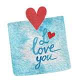 Hand paint watercolor blue sticker with red heart and I love you. Lettering. Watercolor for cards, invitations, DIY projects, web sites Royalty Free Stock Images