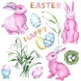 Hand paint watercolor easter set isolated royalty free illustration