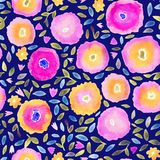 Hand paint watercolor floral seamless pattern. Flowers and leaves. Can be used for invitations, cards or print. Royalty Free Stock Photos