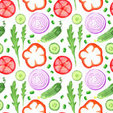Hand paint watercolor seanless pattern with vegetables set eat local farm market rustic illustrations with a arugula, onion, peppe Stock Image