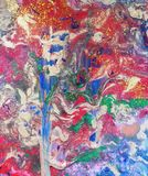 Hand painted Abstact, `Tree of Colours`. Original unique painted abstract, using acrylic paint and glitter on canvas.nI have named with original painting `Tree vector illustration