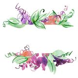 Watercolor hand painted banner with abstract purple flowers. Elements for design. Hand painted abstract purple flowers. Elements for design vector illustration