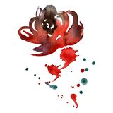 Watercolor hand painted abstract red flower with splashes isolated on white. Hand painted abstract red flower with splashes isolated on white Vector Illustration