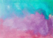 Hand painted abstract watercolor texture blue purple and pink Stock Images