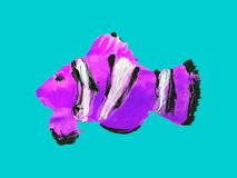 Free Hand Painted Acrylic Clown Fish Against A Teal Background Royalty Free Stock Image - 113766816