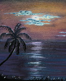 Acrylic Painting Tropical Night Sky. Hand painted acrylic painting of a tropical night sky scene with tropical waters and silhouette palmtree.  Aritist is same Stock Image