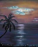 Acrylic Painting Tropical Night Sky royalty free illustration