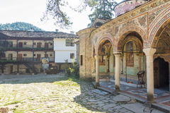Hand-painted architecture of the Troyan Monastery in Bulgaria stock image