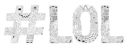 Word LOL with hashtag for coloring. Vector decorative zentangle object Stock Images
