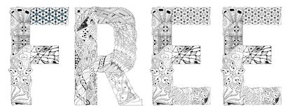 Word FREE for coloring. Vector decorative zentangle object. Hand-painted art design. Adult anti-stress coloring page. Black and white hand drawn illustration stock illustration