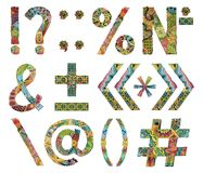 Unusual colorfull alphabet doodle style punctuation marks on a white background Royalty Free Stock Image