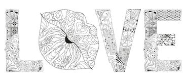 Word LOVE with lips silhouette. Vector decorative zentangle object for coloring stock illustration