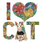 Words I LOVE CAT with a figure of cat. Vector decorative zentangle object. Hand-painted art design. Hand drawn illustration words I LOVE CAT with a figure of dog Stock Photos