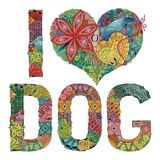 Words I LOVE DOG. Vector decorative zentangle object royalty free illustration