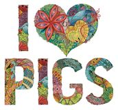 Words I LOVE PIGS. Vector decorative zentangle object Royalty Free Stock Photo