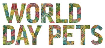 World day pets. Vector decorative zentangle object Royalty Free Stock Image