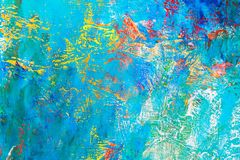 Hand painted background with bright vibrant blue colors Royalty Free Stock Photography