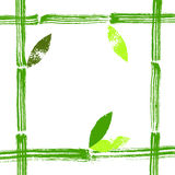 Hand painted bamboo stems and leaves vector frame background Stock Photo