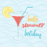 Hand painted banner of glass with the inscription typographic quote. Hello summer holiday. Stock Photo