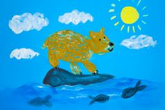 A hand-painted bear on an ice floe is fishing in the river. Wild northern animal. Earth Day. Concept Royalty Free Stock Photo