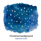 Hand painted Blue dark watercolor Christmas background of night sky with falling snow. Vector illustration for design cards, invitations and greetings Royalty Free Stock Photo