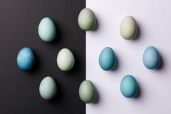 Hand painted blue Easter eggs abstract minimal concept. Happy Easter. stock photo
