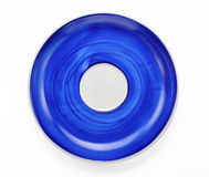 Hand painted blue plate isolated on white background Stock Photos