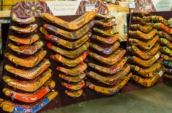 Hand painted Boomerangs at a Souvenir shop, Paddy market. royalty free stock images