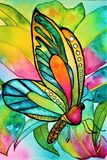 Watercolor butterfly with orchid and foliage Royalty Free Stock Photography