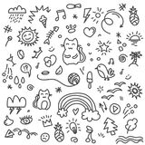 Hand painted cat, birds, rainbow, sun and other art elements on doodle pattern. Doodle sketch animals, birds and art sketches hand drawing in black and white Royalty Free Stock Photography