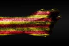 A hand with a painted Catalonia flag shows a fig, a sign of aggression, disagreement, a dispute on a dark background. Horizontal frame royalty free stock image
