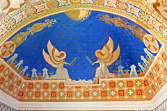 Hand-painted ceiling in Uzhhorod Castle (Ukraine) Stock Images