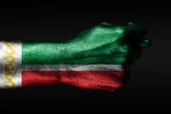 A hand with a painted Chechnya flag shows a fig, a sign of aggression, disagreement, a dispute on a dark background. Horizontal frame royalty free stock images